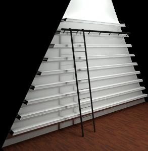 Boekenplanken wand met trap