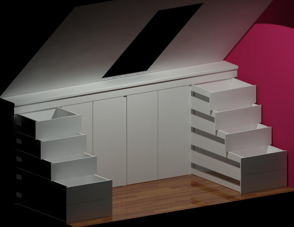 Kasten voor het schuine dak